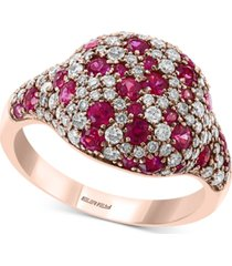 certified ruby (1 ct. t.w.) & diamond (3/4 ct. t.w.) cluster ring in 14k rose gold
