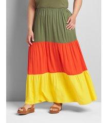 lane bryant women's colorblock tiered maxi skirt 22/24 maize/orange/olive