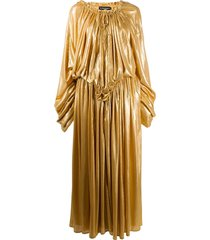 y/project slouchy pleated metallic maxi dress - gold