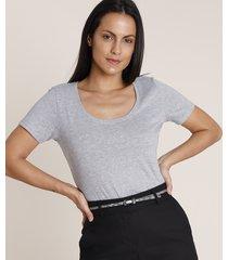 blusa feminina básica manga curta decote redondo cinza mescla