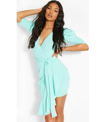 extreme puff sleeve tie waist wrap dress, aqua