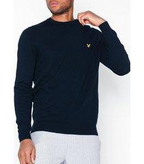 lyle & scott cotton merino crew tröjor navy