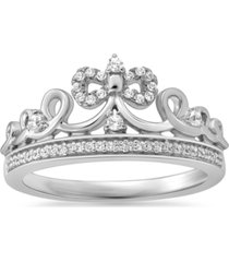 enchanted disney fine jewelry diamond cinderella bow tiara ring (1/6 ct. t.w.) in sterling silver