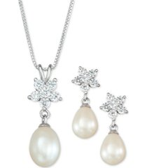 cultured freshwater pearl (7 x 9mm) & cubic zirconia pendant necklace & drop earrings set in sterling silver, created for macy's