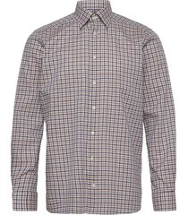 blue & navy overcheck flannel shirt skjorta casual brun eton
