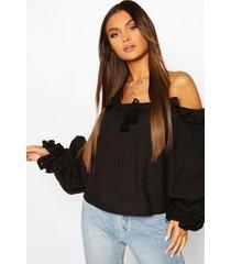 cotton ruffle oversized blouse, black