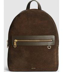 reiss ethan - suede backpack in brown, mens