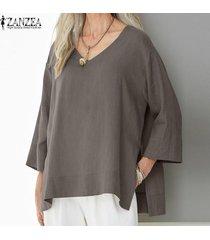 zanzea mujeres batwing casual cuello en v camisa de la blusa asimétrica tapas de gran tamaño plus -café