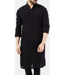 mens pathani kurta pajama indian t-shirt lunghe tuta etnica in cotone tinta unita manica lunga autunno