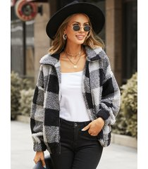 yoins plaid zip diseño abrigo de manga larga con cuello de solapa