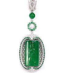 'guan yin' diamond garnet jadeite 18k white gold pendant