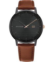 tommy hilfiger men's brown leather strap watch 40mm