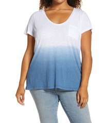 plus size women's caslon rounded v-neck tee, size 1x - blue