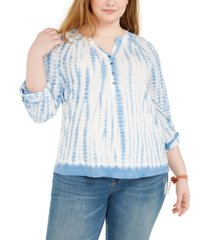 style & co plus size tie-dye henley, created for macy's