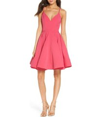 women's ieena for mac duggal fit & flare cocktail dress, size 16 - pink