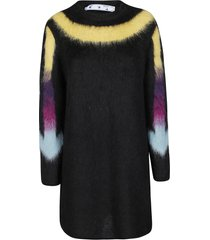off-white black mohair-alpaca fuzzy arrows dress