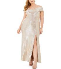 nightway plus size metallic off-the-shoulder gown