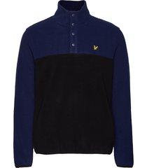 microfleece pullover sweat-shirt tröja blå lyle & scott
