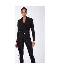 blazer cropped amarração cintura preto - p
