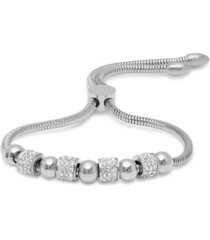 steeltime stainless steel omega drawstring bracelet with bead rows