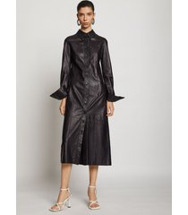 proenza schouler leather shirt dress black 4
