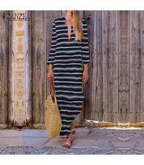 zanzea vestido de manga larga con cuello en v y manga larga para mujer vestidos de fiesta en la playa tallas grandes -negro