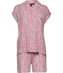 lrl drop shoulder boxer pj set short sl. pyjama roze lauren ralph lauren homewear