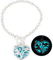 braccialetti di fascino di tendenza cuore hollow luminosi brillanti nei braccialetti scuri miglior regalo per le donne