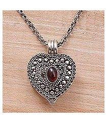 garnet locket necklace, 'garnet love' (indonesia)