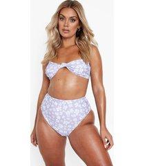 plus bloemen bikini broekje met hoge taille, lilac