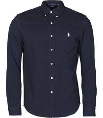 overhemd lange mouw polo ralph lauren chemise ajustee col boutonne en polo featherweight logo pony pla