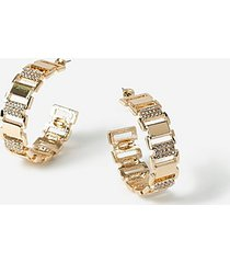 *crystal square chain hoop earrings - clear