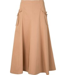 vivetta high-waist flared skirt - brown