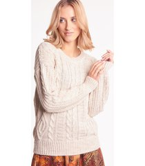 beżowy sweter jenna warkocz