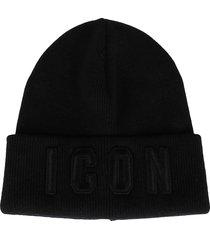 dsquared2 black cotton beanie hat