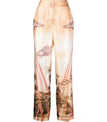 f.r.s for restless sleepers silk ufo print wide-leg trousers - orange