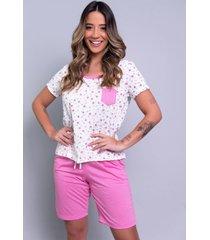 pijama feminino serra e mar modas estampado com bolso hadassa rosa - rosa - feminino - poliã©ster - dafiti