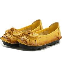 socofy scarpe basse morbide di stile retro con nodo a farfalla d'intreccio