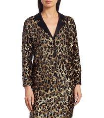 alice + olivia women's keir sequin leopard print top - leopard - size s
