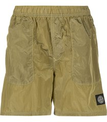 stone island logo swim shorts - green