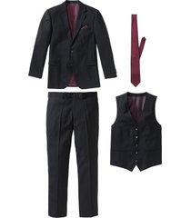 completo (4 pezzi) giacca, pantaloni, gilet, cravatta (nero) - bpc selection