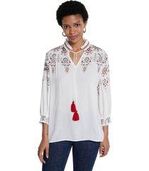 blusa blanco-rojo-negro desigual