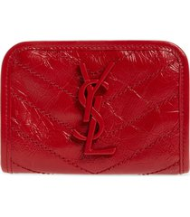 women's saint laurent niki quilted leather wallet - red