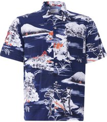 universal works road shirt fuji summer print | navy | 24189-nvy