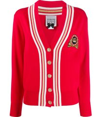 edward achour paris sequin embellished knit cardigan - red