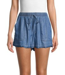 pure navy women's frayed chambray shorts - medium indigo - size s