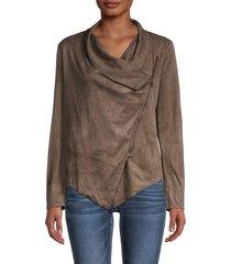 vigoss women's asymmetrical faux suede jacket - taupe - size s