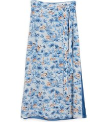 women's faherty nola reversible midi skirt, size small - blue