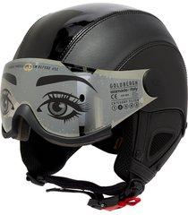 glam' visor faux leather ski helmet