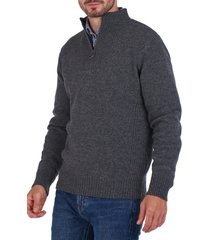 barbour nelson wool quarter zip sweater, size medium in storm grey at nordstrom